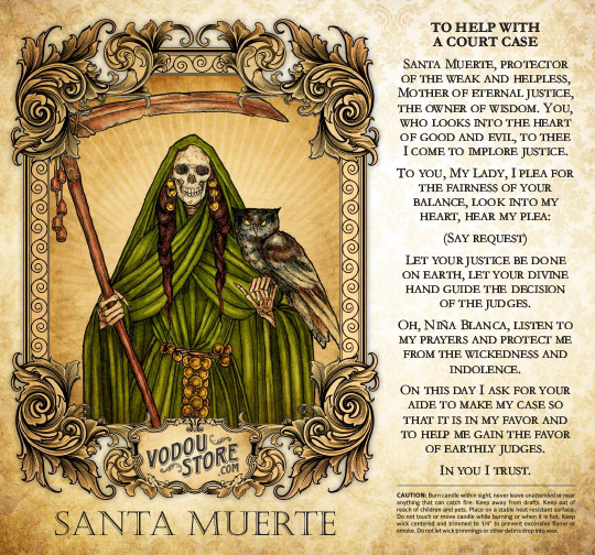 7-Day Candle Label - Santa Muerte (To help with a court case) : The