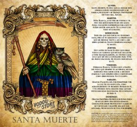7-Day Candle Label - Santa Muerte (Arcoiris)