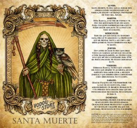 7-Day Candle Label - Santa Muerte (Verde)