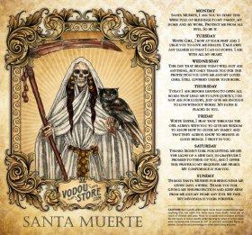 7-Day Candle Label - Santa Muerte (White)