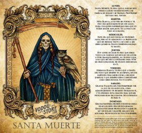 7-Day Candle Label - Santa Muerte (Azul)