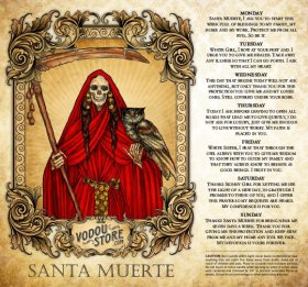 7-Day Candle Label - Santa Muerte (Red)