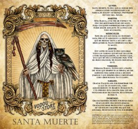 7-Day Candle Label - Santa Muerte (Blanca)
