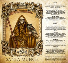 7-Day Candle Label - Santa Muerte (Ambar)
