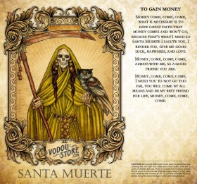 7-Day Candle Label - Santa Muerte (To gain money)