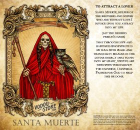7-Day Candle Label - Santa Muerte (To attract a lover)