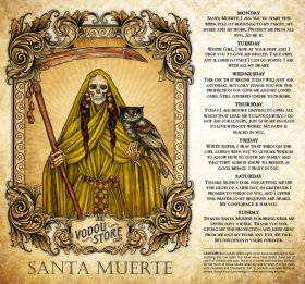 7-Day Candle Label - Santa Muerte (Gold)