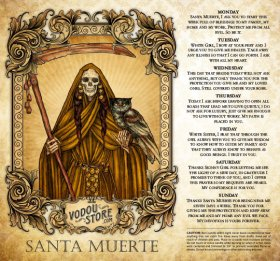 7-Day Candle Label - Santa Muerte (Amber)