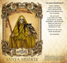 7-Day Candle Label - Santa Muerte (To gain fortune)