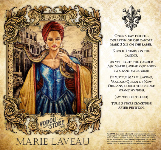 7-Day Candle Label - Marie Laveau