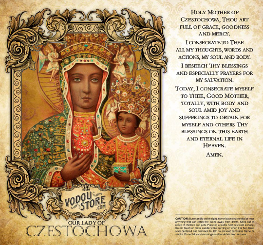 7-Day Candle Label - O.L. of Czestochowa