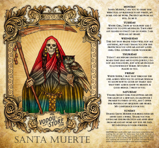 7-Day Candle Label - Santa Muerte (7 Colors)