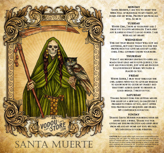 7-Day Candle Label - Santa Muerte (Green)