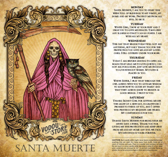 7-Day Candle Label - Santa Muerte (Pink)